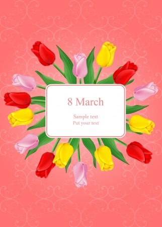 vector greeting card with bouquet of red tulips, may be used as a Women s Day or Saint Valentine s backdrop  Vector