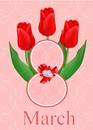 vector greeting card with bouquet of red tulips, may be used as a Women s Day backdrop  Vector