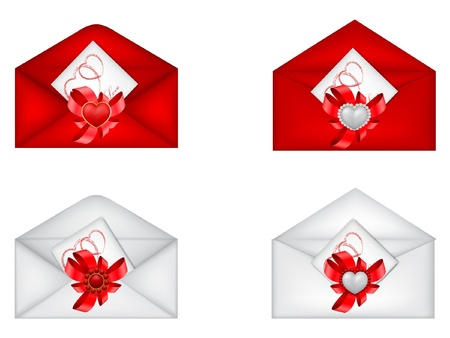 vector set of decorative Saint Valentine s envelopes with hearts