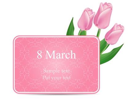 mars: vecteur carte de voeux avec bouquet de tulipes rouges, peut �tre utilis� comme toile de fond Journ�e de la femme s