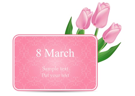 8 march: vector greeting card with bouquet of red tulips, may be used as a Women s Day backdrop