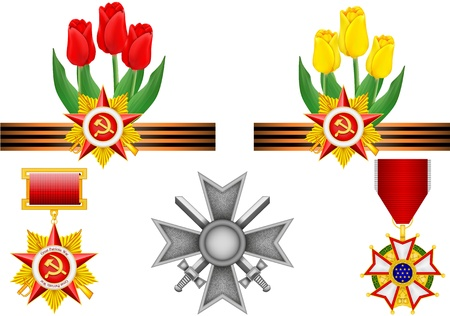 vector set of military objects, related to Victory Day Vector