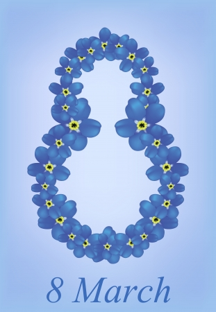 vector greeting card with forget-me-nots, may be used as a Women s Day backdrop Vector