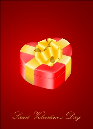 vector heart-shaped present box with golden bow, may e used as a Saint Valentine s greeting card
