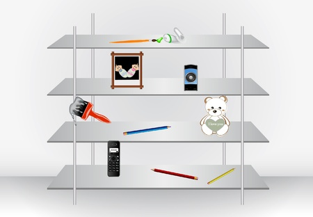 toy shop: vector stylish modern shelf with different things on it  Illustration