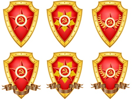 vector set of military shields, related to 23 February Vector