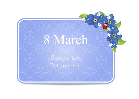 vector greeting card with forget-me-nots, may be used as a Women s Day backdrop