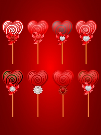 vector set of Saint Valentine s candies with hearts