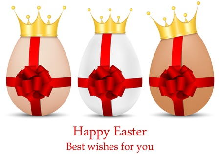vector set of luxury Easter eggs in golden crowns and with red ribbons and bows