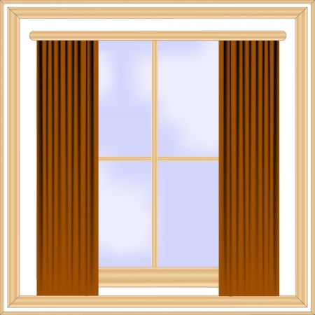 vector window with wooden frame