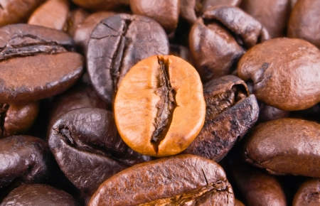 Background with contrastive coffee beans