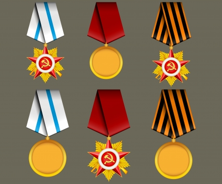 vector set of military medals, related to Victory Day and 23 February Vector