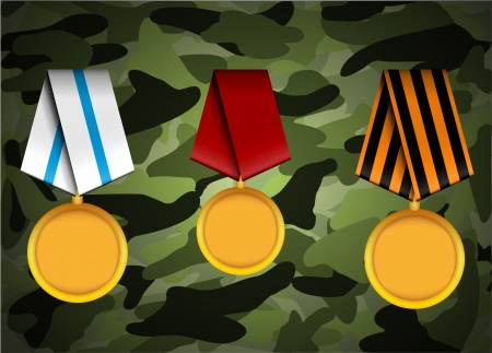 vector set of military medals, related to Victory Day and 23 February