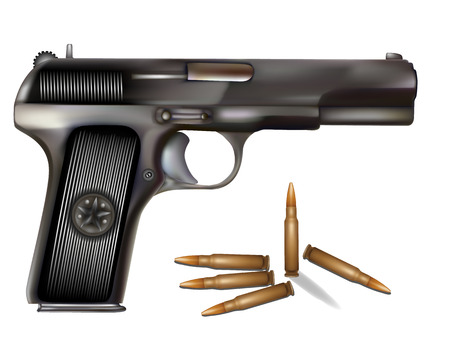 illustration of handgun with bullets