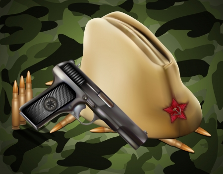 greeting card with military objects related to Victory Day