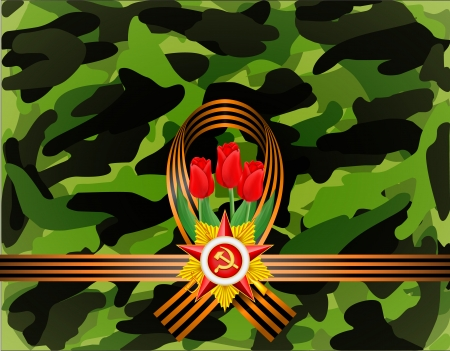 greeting card with military objects related to Victory Day Illustration
