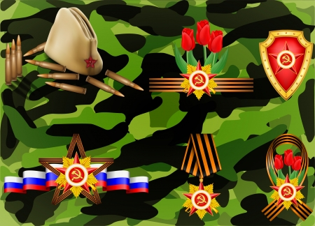 set of military objects related to 23 February and Victory Day