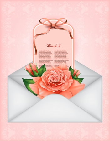 Beautiful gift card with pastel rose and gift bows, may be used as a Woman s Day congratulation  Illustration