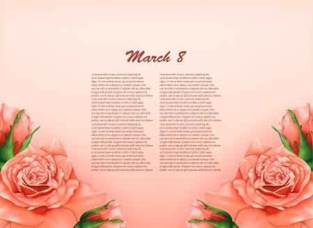 vintage lady: Achtergrond met mooie pastel rozen, kan worden gebruikt als een Women s Day achtergrond Stock Illustratie