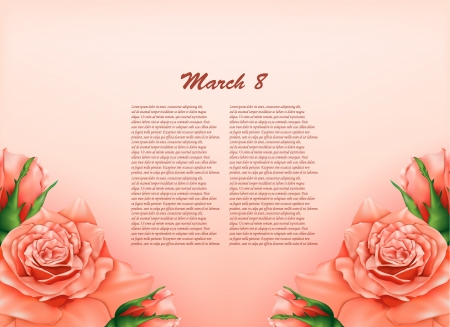 Background with beautiful pastel roses,may be used as a Women s Day backdrop  Vector