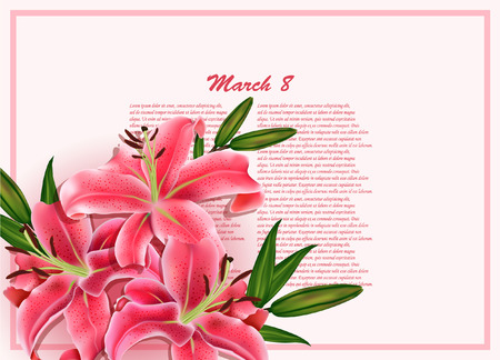 Beautiful gift card with pink lilies , may be used as a Woman s Day congratulation