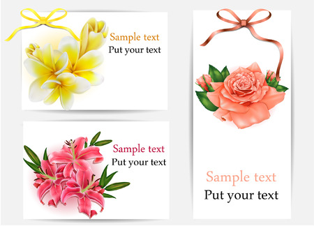 Set of beautiful gift cards with pastel roses, plumerias , lilies and gift bows, may be used for Womens Day Illustration
