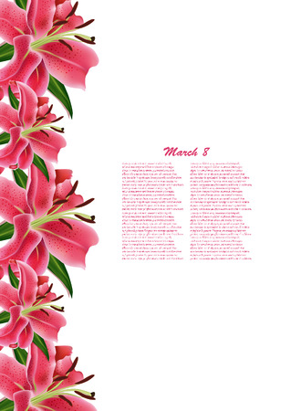 Beautiful gift card with pink lilies , may be used as a Womans Day congratulation