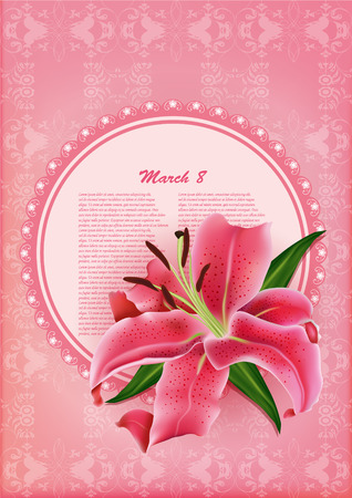 beautiful gift card with pink lily , may be used as a Womans Day congratulation