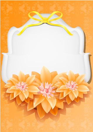 Beautiful gift card with orange paper flowers , may be used as a Womans Day congratulation