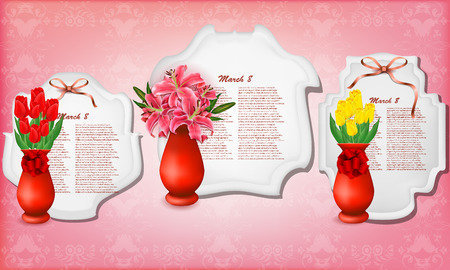 Vector beautiful bouquets of lilies and tulips in vases , may be used as a Woman\\\\