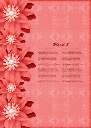 Red paper elegant flowers , may be used as a greeting card for Mother\\\\