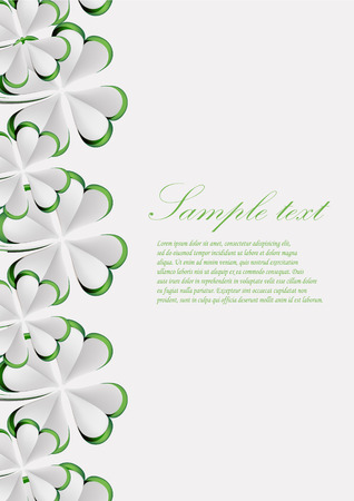 vector greeting card with paper clover, dedicated to Saint Patrick\\\\