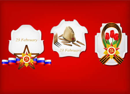 may 9: vector set of military objects, related to 23 February and Victory Day