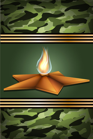 may 9: vector greeting card with eternal flame , related to Victory Day or 23 February