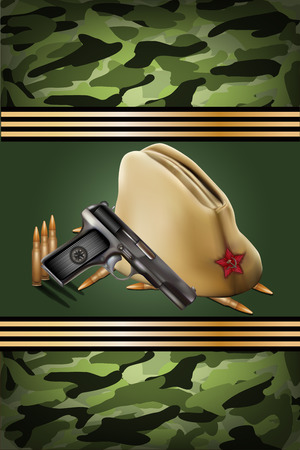 vector greeting card with military objects related to Victory Day or 23 February Illustration