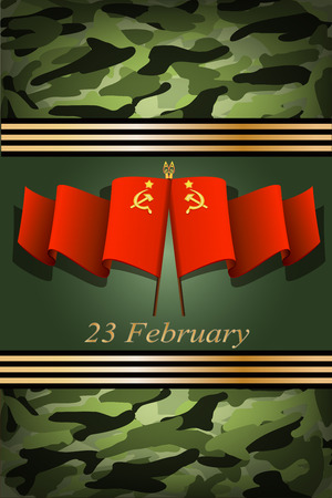 soviet: vector greeting card with USSR flag, related to Victory Day or 23 February