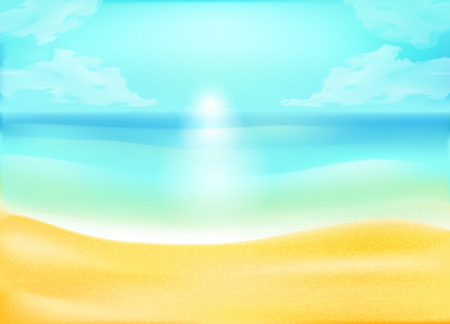 ocean background: tropical sand beach and sea or ocean background, vector concept for rest