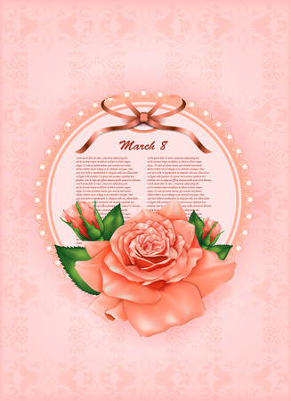 beautiful gift card with pastel rose and gift bows, may be used as a Woman\\\\