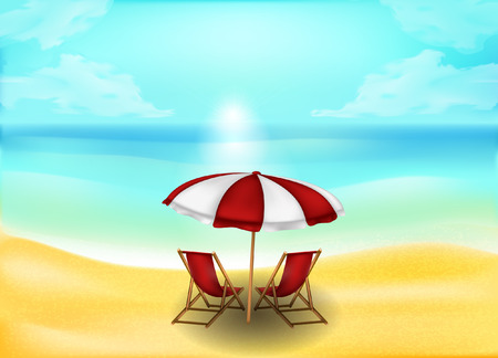 tropical sand beach and sea or ocean background, vector concept for rest