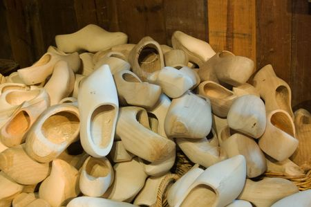 a lot of wooden shoes