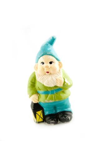 gnomos: gnome est� celebrando una peque�a linterna  Foto de archivo