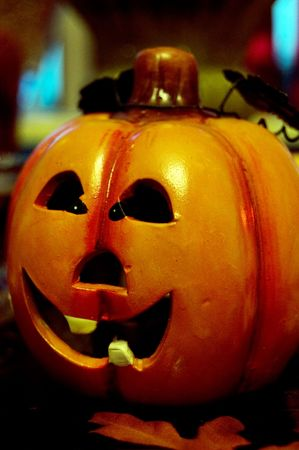 teeths: small pumpkin with white teeths Stock Photo