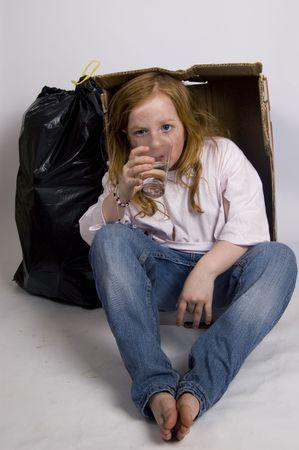 disheartened: homeless thirsty girl