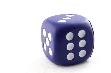 exploit: single dice isolated on a white background Stock Photo