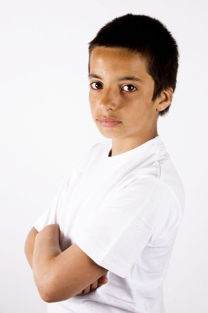 teenage boy with a little smile Stock Photo