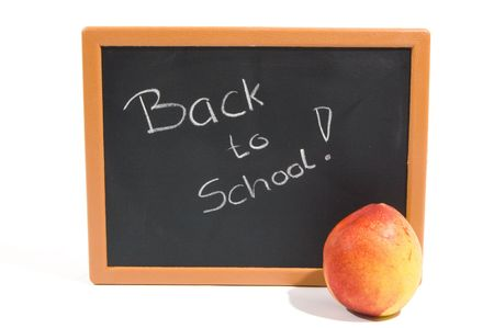 forgetful: chalkboard with the text back to school isolated on white Stock Photo