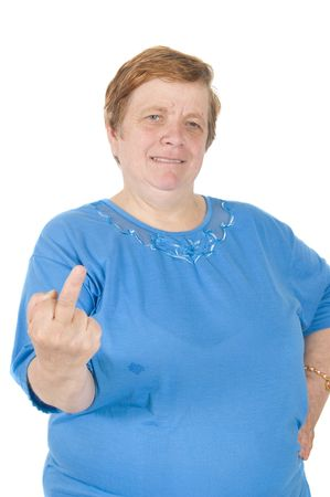 elderly woman putting up her middle finger