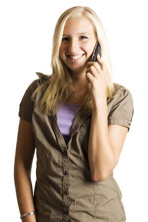 beautifull blond teenage girl on the phone photo