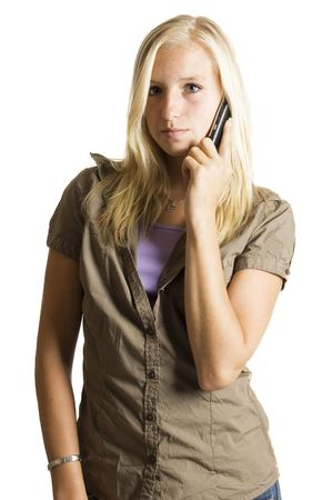 blond teenage girl on the phone Stock Photo - 3482877
