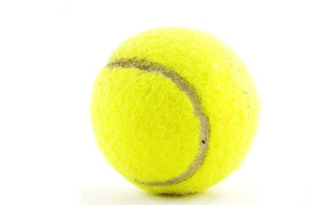 yellow tennisball isolated on a white background Stock Photo